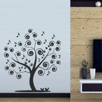 Wall Decal Decor Decals Sticker Art Tree Branch Music Note Melody Birdie (M366)