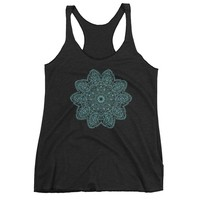 Reiki Charged Teal Mandala Tank Top Shirt Womens Bohemian Design