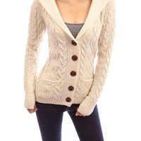 PattyBoutik Wool Blend Hooded Button Down Cable Cardigan