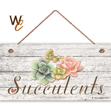 "Succulents Sign, Garden Sign, Rustic Decor, Herb on Distressed Wood, Weatherproof, 5"" x 10"" Sign, Gift, Gift For Gardener, Made To Order"