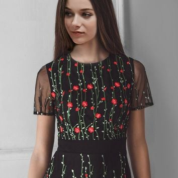 Floral Embroidery Back Zipper A-Line Dress