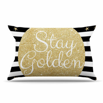 "Richard Casillas ""Stay Golden "" Black Gold Pillow Sham"