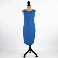 Blue Dress Sleeveless Summer Dress Sheath Linen Dress Women Medium Midi Dress Size 10 Dress Donna Ricco Vintage Clothing Womens Clothing