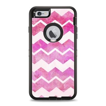 The Pink Water Color with White Chevron Apple iPhone 6 Plus Otterbox Defender Case Skin