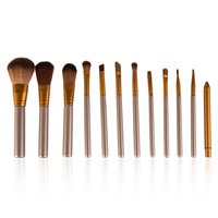 Cosmetic 12 Pcs Brown Makeup Brush Set with Pouch