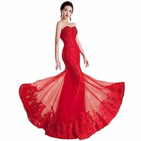 Felaladress Women's Long Red Lace Size 2-24w Prom Dresses
