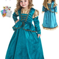 Little Adventures Scottish Princess Dress size 1-3 with Doll Dress, Hairbow & Coloring Book
