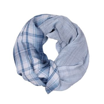 Double Weave Plaid Scarf in Chambray by True Grit (Dylan)
