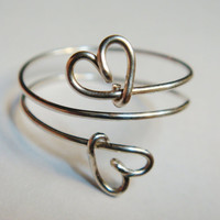 Silver Double Heart Ring - Silver Double Heart Love Ring - Sterling Silver Filled Ring - Valentines Ring - Valentines Jewelry