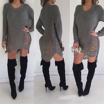 1Pc Sexy Hollow Out Hole Loose Sweater Dress Irregular Tassel Long Sleeve Knitwear Female Clothes