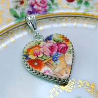 Broken China Jewelry Pendant Necklace Sterling Silver, Heart, Antique China Pink Roses, Vintage Wedding Necklace, Victorian Gift for Bride