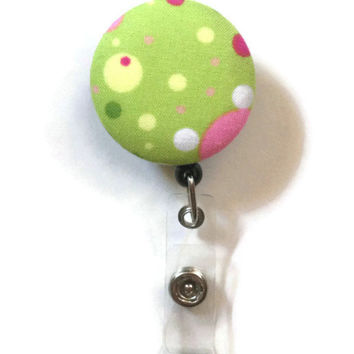 Fabric Covered Retractable Badge Reel Green Polka Dot Patterned Keychain Lanyard