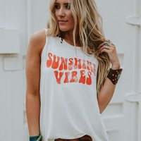 Sunshine Vibes Graphic Tank Top - White