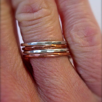 Set of 4 Stacking Rings Copper and Silver hand hammered stacking set Please specify size