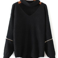 Winter Fashion Halter Knitted Warm Sweater Casual Loose Open Zipper Sleeve Cut Out Chunky Choker Sweater
