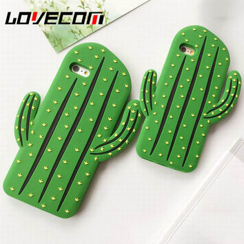 Funny 3D Cactus Phone Case Silicone Capa For iPhone 5 5S SE 6 6S 7 Plus Cartoon Back Cover Fandas Coque Cases