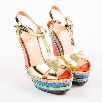 HCXX Christian Louboutin Metallic   Trotolita 140   Espadrille Wedge Sandals