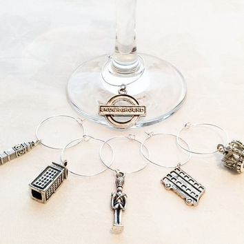 London Theme Wine Glass Charms Gift Charms Wine Charms Jewelry