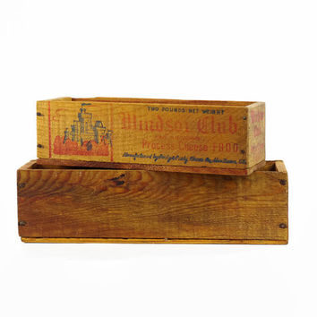 Vintage Cheese Box, Small Wooden Box, Desk Caddy, Display Shelf, Set of Two