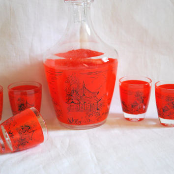 Glass Carafe and Glasses Vintage Barware , Decanter with Glasses Red and clear glass