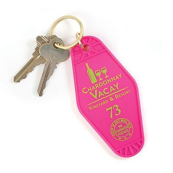 Chardonnay Vacay Motel Style Keychain in Pink