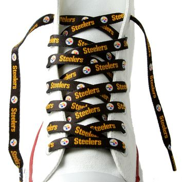 """Pittsburgh Steelers Shoe Laces  54"""" Black"""