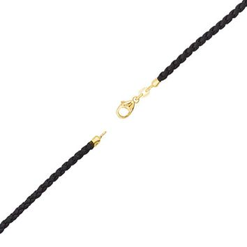 3mm Black Braided Leather Cord Necklace with 14k Gold Clasp, 16 Inch