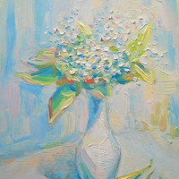 Lilies-of-the-valley Bouquet in Vase Original Oil Painting Still Life Flower Picture Wall Decor Nature gift for her Contemporary Modern Art