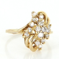 Vintage 14 Karat Yellow Gold Diamond Cluster Cocktail Ring Fine Estate Jewelry
