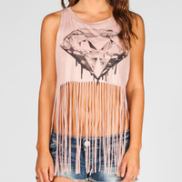 Full Tilt Diamond Womens Fringe Tank Rose  In Sizes
