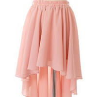 Asymmetric Waterfall Skirt in Peach