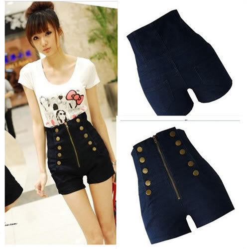 Lady Button Double Breasted Zipper Women's High Waist Pocket Pants Jeans Shorts