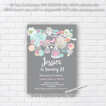 Birthday Invitation, Birdcages, for any age,  Baby Shower, Bridal shower, invitation, shabby chic 30th 40th 50th 60th 70th 80th   - card 148