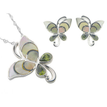 Vintage Butterfly Mother of Pearl Earring and Pendant Set | 925 Sterling Silver Cubic Zirconias