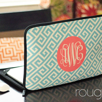 "GREEK 13"" or 15"" laptop sleeve - with monogram - NEW elastic tabs give you the option to keep the sleeve on while you work"