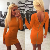 Solid Long-Sleeve Zip-Back Bodycon Dress
