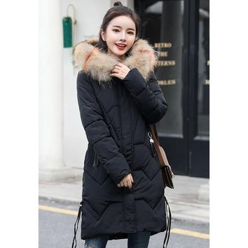 Womens Classic Black Casual Puffer Coat with Faux Fur Hood