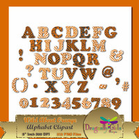 80% OFF Sale WILD About Burnt Orange Alphabet Digital Scrapbooking, Instant Download, Printable, Commercial use, Patterns