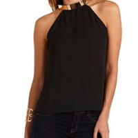 Gold-Plated Racer Front Tank Top by Charlotte Russe - Black