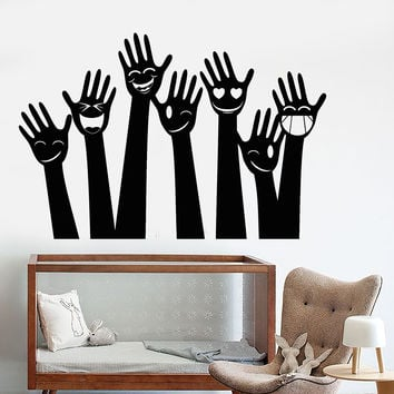 Vinyl Wall Decal Funny Smile Hands Fun Party Decor For Nursery Stickers Unique Gift (1184ig)