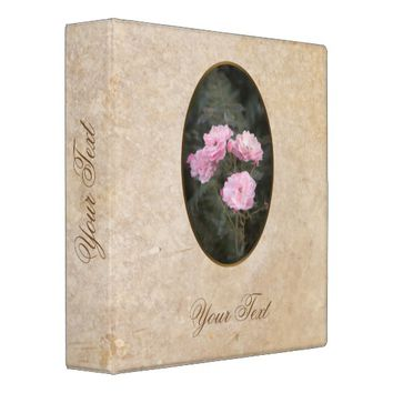 Vintage design. Photo of pink roses. Add your text 3 Ring Binder