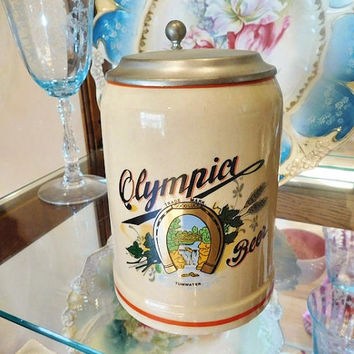Olympia Beer Stein Lidded Stein Stoneware Pewter Lid GERZ W Germany Stein Good Luck Horseshoe Logo Vintage Advertising Brewing Bar Barware
