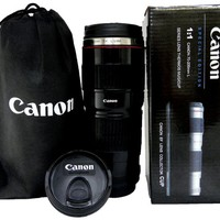 Canon Thermo Travel Mug in a shape of Canon EOS 70-210mm F4.0L Lens with Stainless Steel and Drinking Lid, Thermo Lens Cup - Black Version