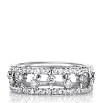 De Beers White Gold and Diamond Dewdrop Ring | Harrods.com