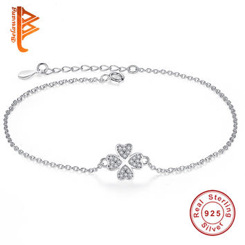 REAL 925 Sterling Silver Lucky Four Leaf Clover Charm Bracelet Micro Pave Crystal Link Chain Bracelet for Women Original Jewelry
