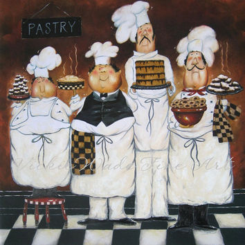 Four TALL Pastry Chefs Art Print, fat chef paintings, art, kitchen art wall decor, desserts, Vickie Wade art