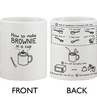 Cute Ceramic Coffee Mug - How to Make Brownie in a Cup - Cute Recipe Mug