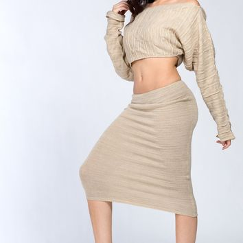 Midi Knee High Sweater Set Stretch Knit Booty Dress & Crop Cocoon Top KD dance NY Made In USA