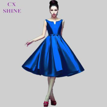 CX SHINE Custom Color Fashion tea-length V-Neck short stain bridesmaid dresses wedding Party dress Mid-calf prom dress Plus Size