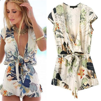 Vintage print summer women Jumpsuit short dress v neck zara like  = 4769278084